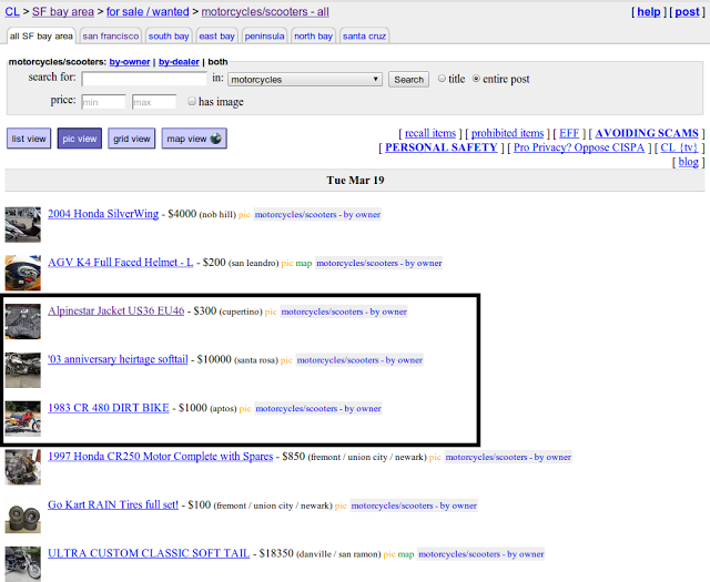 Craigslist page screenshot